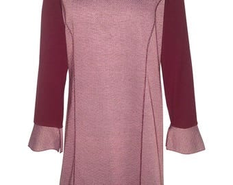 Woman's dress, Sixe M, 100% Satin Cotton and Viscose Jersey, Bird's Eyes, Made in Italy
