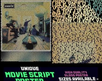 Oasis - Definitely Maybe - Album Lyric Posters & Prints - Entire Album !!
