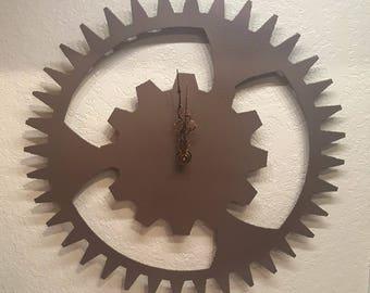 """Large Gear Steel Clock in Copper 15"""" Steampunk Rustic Metal Wall Art"""