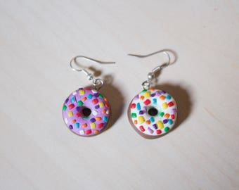 Pink and white donuts earrings