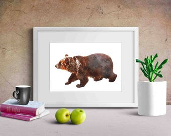 animal printables , woodland printables , bear art print , bear nursery art , bear wall decor , watercolor bear art ,
