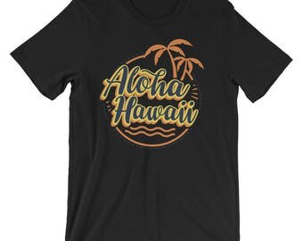 Aloha Beaches Hawaii UNISEX T-Shirt Vintage Palms Shirt Vacation Gift