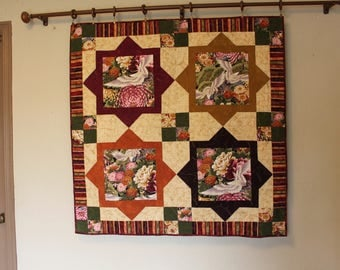 Asian Cranes Quilt  / Wall Hanging, Quilts for Sale, Handmade Quilt, Asian Quilt, Asian Crane Quilt,