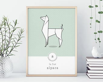 Alpaca Print, Pastel Print, Geometric Art Print, Origami Art, Animal Alphabet, Nursery Decor, Origami Print, Office Decor, Workspace Decor