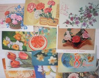 A set of 12 Soviet vintage postcards. Mother's Day USSR. Women's Day March 8. Old postcards. Unused postcards.