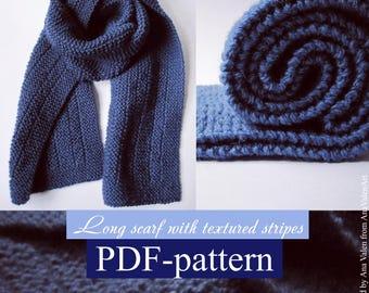 Knitting Pattern Long scarf pdf file PDF-pattern How to knit scarf AnaValenArt Instant Download PDF file Unisex Reversible scarf DIY gift