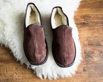 Man slippers natural leather slippers man shoes leather shoes fur slippers woolen indoor boots men boyfriend father christmas gift handmade