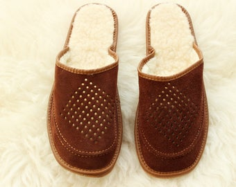 SHEEPSKIN slippers LEATHER moccasins for men  fur winter boots soled slippers socks wool woolen shoes suede leather brown handmade