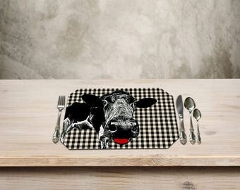 Cow Decor, Cow Placemat,Farmhouse Table, Farmhouse Decor, Country Checker Pattern, Add a Fun Farmhouse Touch to your Kitchen Table.