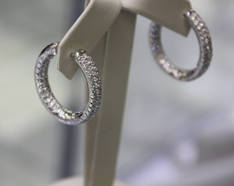 Italian diamonds earrings (hoops) 18 k white gold/ 4,35 ct diamonds ladies, 18.5 gr.