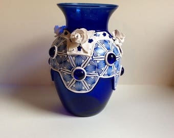 Deep blue glass vase with polymer clay complex design, including 3D white roses-Premo polymer clay-white and blue design-recycled glass
