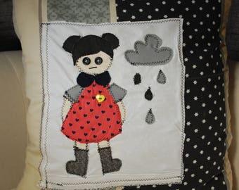 Handmade upcycled Girl & a cloud cushion cover