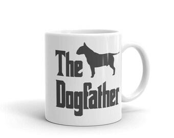 The Dogfather mug, Bull Terrier silhouette, funny dog gift mug, The Godfather parody, dog lover mug, gift for dog lovers