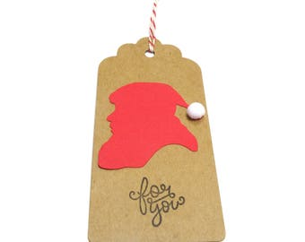Santa Gift Tag, Santa Christmas Tag, Santa Christmas Gift Wrap, Kraft Santa Favor Tag, Christmas Hang Tag, Holiday Gift Tag, set of 5