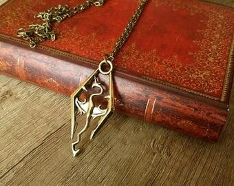 Skyrim Logo Necklace Bronze or Silver