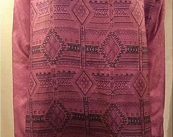 One-of-a-kind 100% up-cycled silk tribal patterned jewel toned tunic