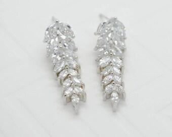 Azalea Cubic Zirconia Drop Earrings - Silver CZ Dangle Earrings, Crystal Earrings, Bridesmaid Earrings, Bridal Earrings, Wedding Jewelry