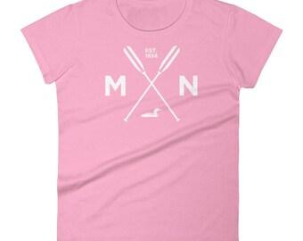 Adventure Minnesota T Shirt - MN, Est 1858, Loon, Oars Women's Short Sleeve T-Shirt