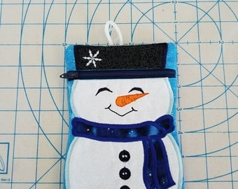HANDMADE Snowman zipper bag or pouch Fully Lined. Free Shipping