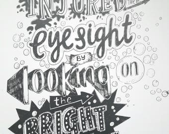 Look on the Brightside - a4 print from hand lettered quote