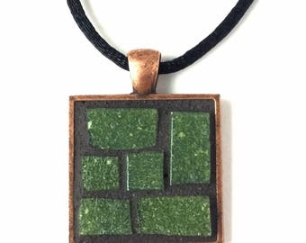 Green tile necklace, copper square pendant, green mosaic necklace, mosaic jewellery, moss green, forest green, boho pendant, gift for her