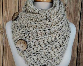 Crochet Cowl, Crochet Button Cowl, Harbour Bay Button Cowl, Chunky Button Cowl, Chunky Cowl, Chunky Crochet Cowl