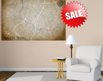 AUSTIN TX Canvas Poster, TX Austin Vintage map, Austin Horizontal Wall Art, Vintage map, Austin Long poster, Home Decor Gift, Large Wall Art