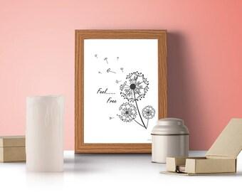 Dandelion Wall Art, Downloadable Art, Scandinavian Print, Wall Decals, Printable Art, Printable Wall Art-Feel Free with Dandelion Flower