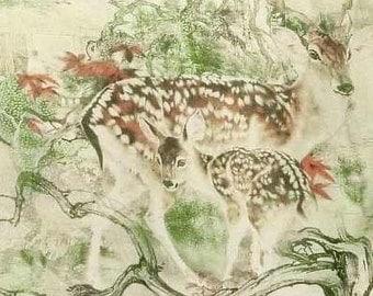 Pure Silk dpc-33035 Chinese Style Drawing Pattern Deer Digital Print 6mm Pure Silk Chiffon Fabric material sheer (Yard or Meters)