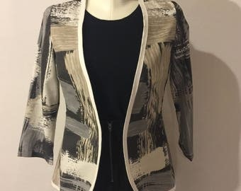 Black & Gray Brushstroke Print Jacket