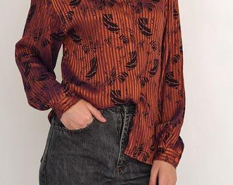 VINTAGE Brown Shiny Long Sleeve Retro Leaf Shirt