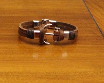 Men's Leather Bracelet, Anchor Hook Bracelet, Brown Leather Cuff, Gift, nautical bracelet