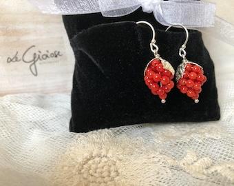 Mediterranean coral earrings, handmade earrings, elegant earrings, wedding earrings, gift earrings
