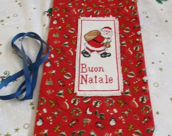 """Christmas bag with cross stitch to pack red gifts """"Santa Claus with Sack"""""""
