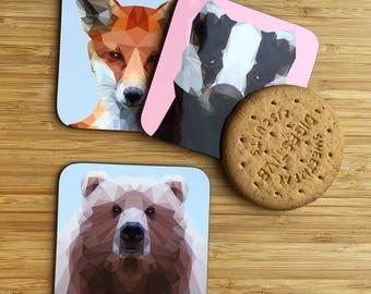 Cute low poly bear on a light blue background Coaster / Hardboard Coaster / Drinks Coaster / Bear Coaster