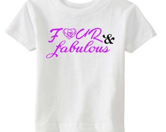 Un-four-gettable/Four and Fabulous/Four Year Old Shirt/Four Year Old Birthday Shirt