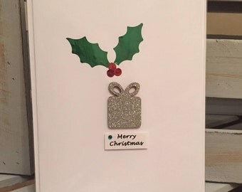 5x Christmas Cards: Gift & holly