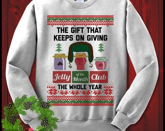 Jelly Of The Month Club Christmas Vacation Clark Griswold Crewneck Sweatshirt Ugly Christmas Sweater XMAS Shirt Funny Holiday Gift  Mom Dad