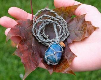 Macramé Necklace Blue Onyx