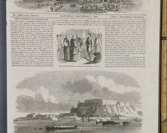 First Englishman in Japan 1860. Town and Fortress of Peterwardein, on the Danube River.
