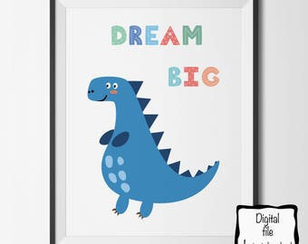 Printable Dinosaur Nursery Art. Dream Big. 8x10 Instant Download.Nursery Art Print Wall Poster. Baby Boy  or Girl Gift. Baby shower.