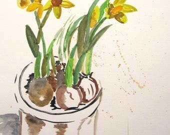 """Original watercolor """"Daffodil"""""""