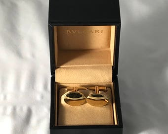 BVLGARI 18kt Yellow Gold Cufflinks With Original Box. ENGRAVABLE!