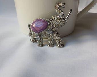 Elephant Rhinestone Brooch