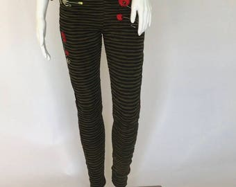 Dark Rose olive striped pants