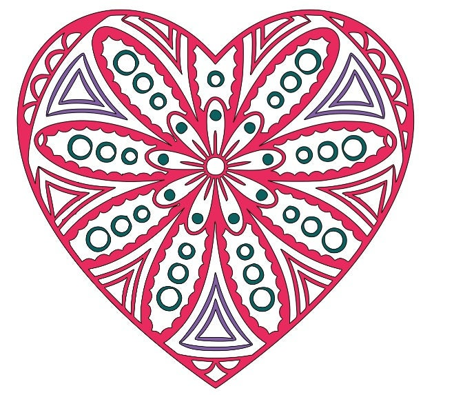 heart flower mandala SVG cutting file from ...