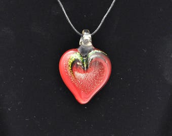 Torch worked Glass Heart Pendant