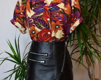 90's Multi floral shirt, short sleeve, button front, loose fitting, tropical, vintage