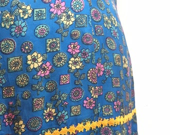 Vintage blue silky floral print dropped waist dress