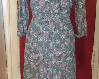 Blue Rayon 1940s Day Dress